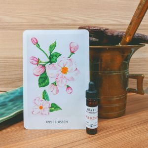 Photo of Apple Blossom essence card and bottle