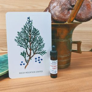 Phot of Rocky Mountain Juniper essence card and bottle