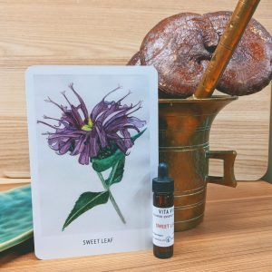 Photo of Sweet Leaf essence card and bottle