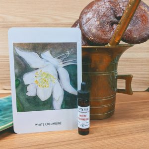 White Columbine essence card and bottle