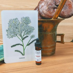 Photo of Yarrow essence card and bottle