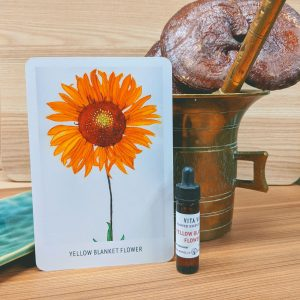 Photo of Yellow Blanket Flower essence card and bottle